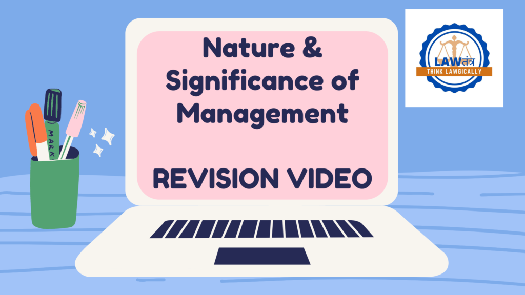 Chapter 1 Nature and Significance of Management Revision Note